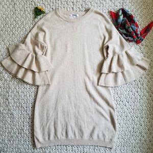 NWOT BB Dakota Ruffle Sleeve Sweater Dress Size L